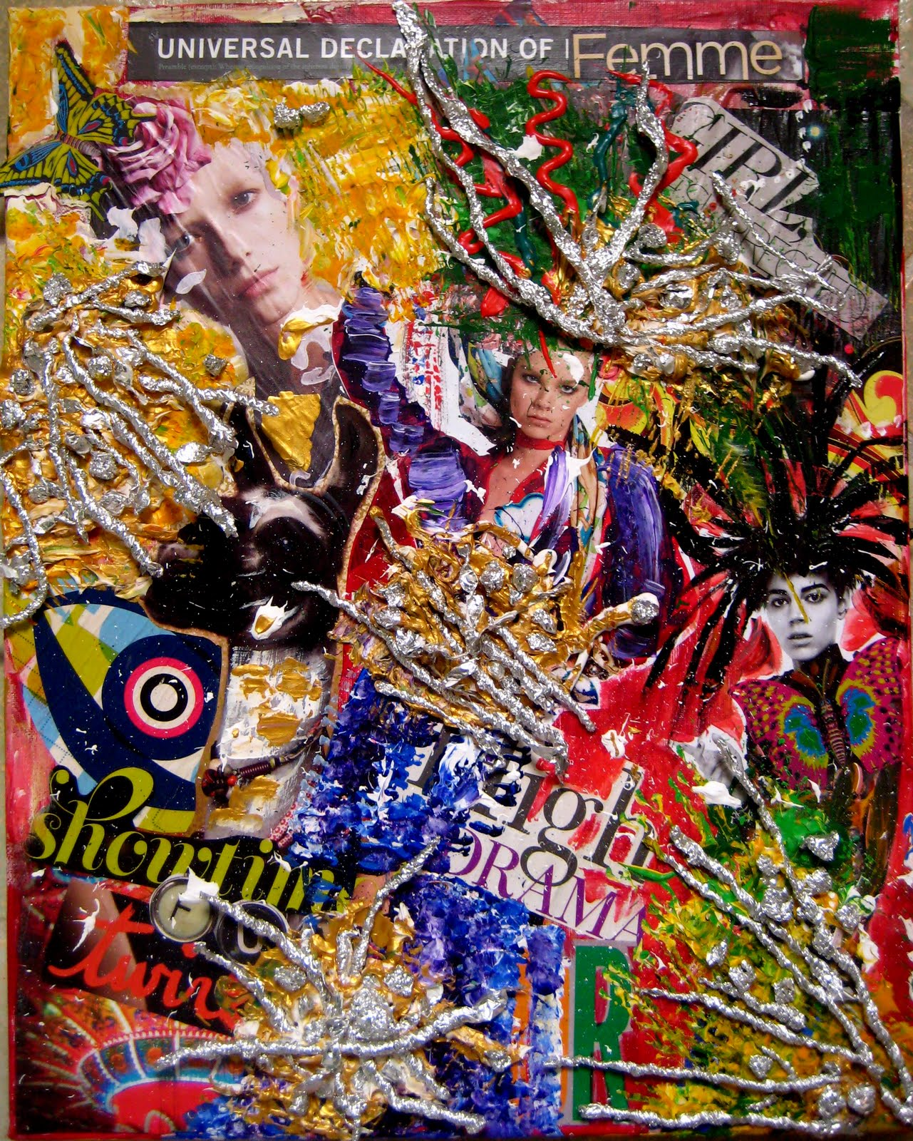 Breaking Up Breaking Out, mixed media collage, by Sabrina Brett
