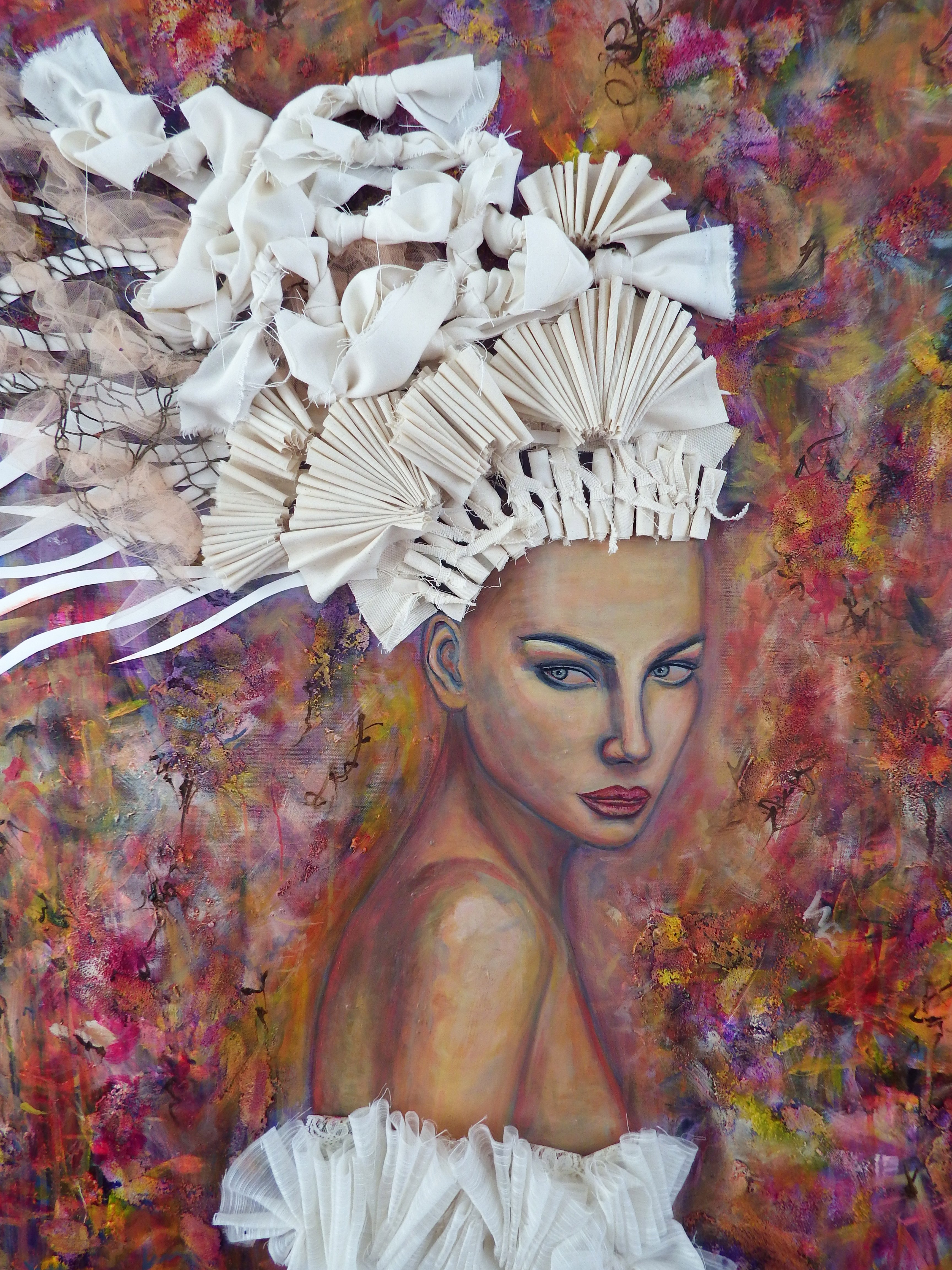 Between the Lilies, Mixed Media on Canvas, by Sabrina Brett 5