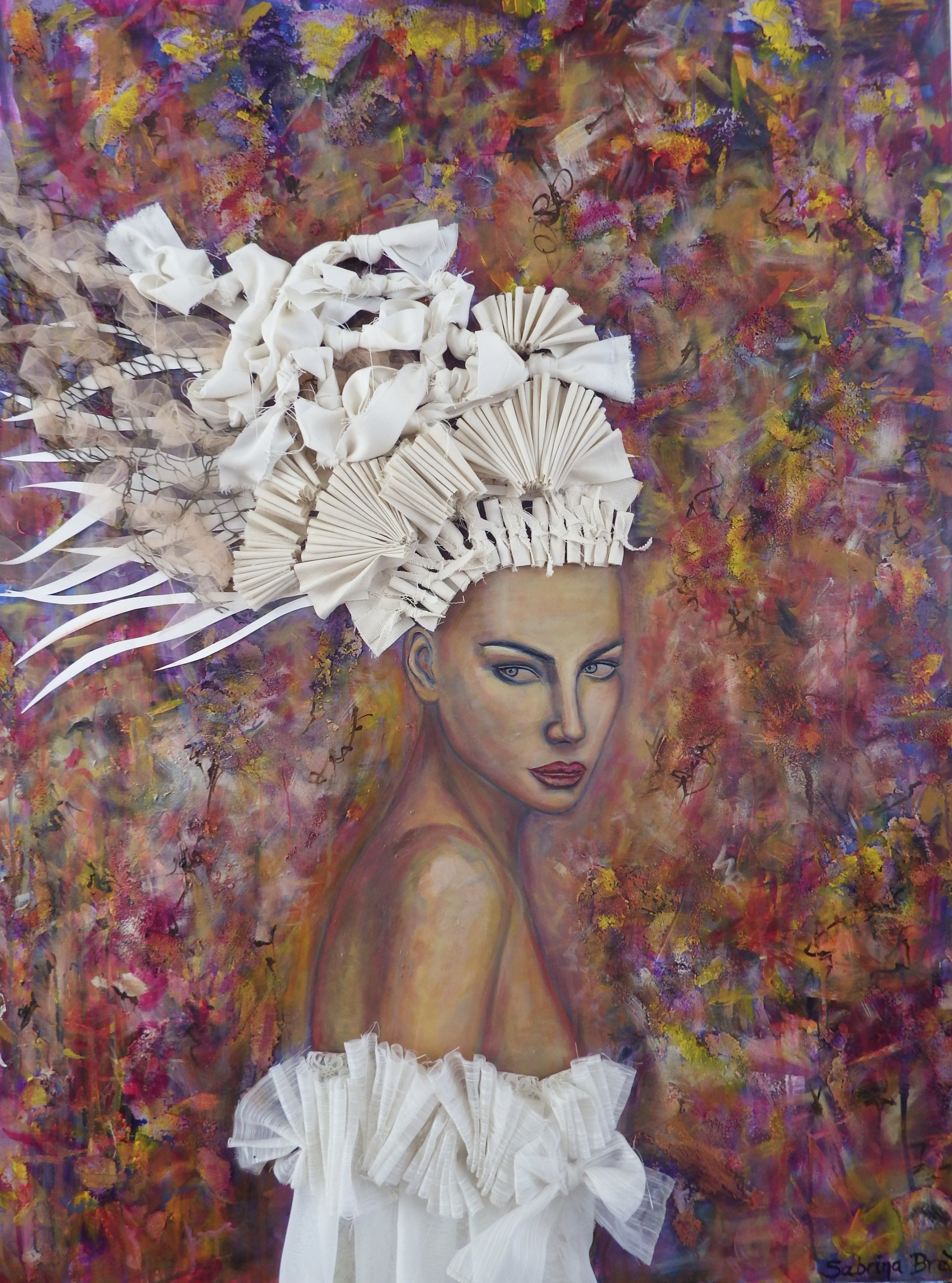 Between the Lilies, mixed media on canvas, by Sabrina Brett