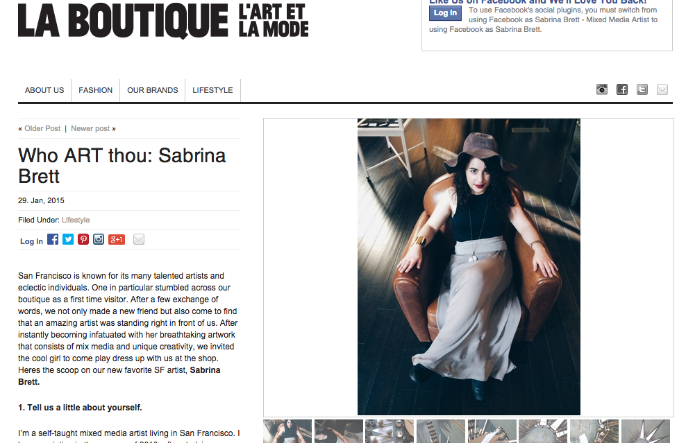 La Boutique Art Feature - Sabrina Brett