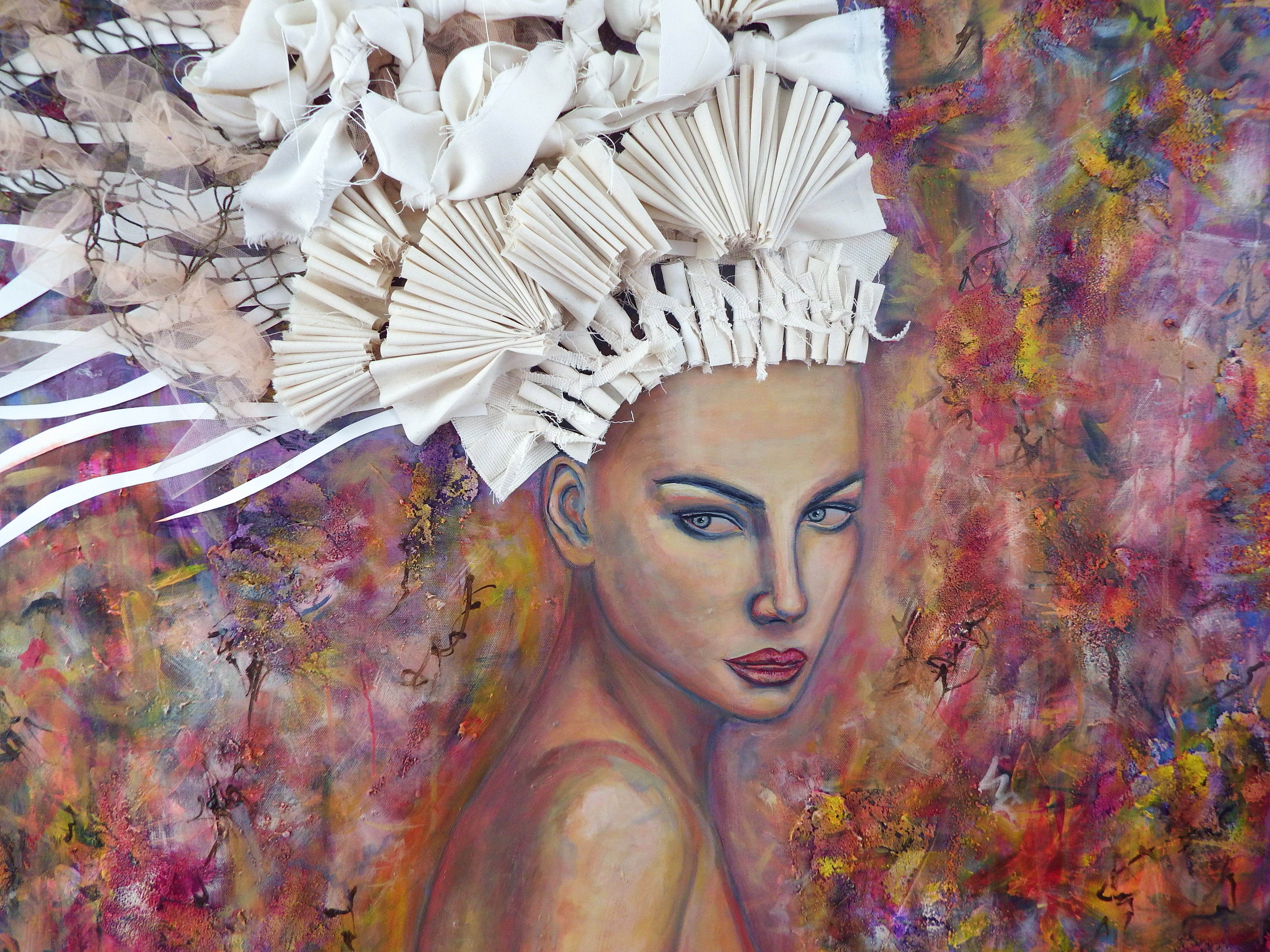 Between the Lilies, Mixed Media on Canvas, by Sabrina Brett 2