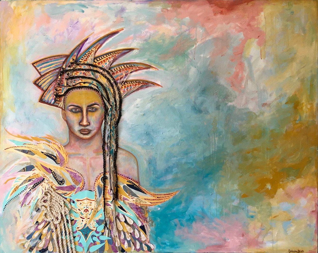 Athena, mixed media on canvas, by Sabrina Brett